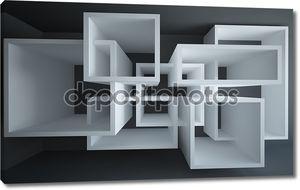 Абстрактный интерьер с черные стены и полы
