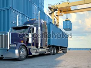 грузовик с контейнерами. 3D визуализация