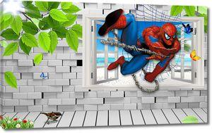 Человек-паук залетает в окно
