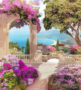 Яркий сад с розовыми цветами