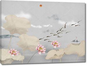 Лотосы на озере, облака