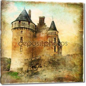 Средневековый замок - работа в живописи стиль