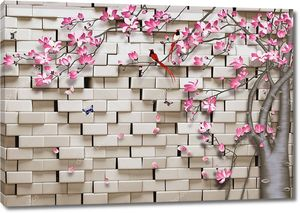 Кирпичи, цветущее дерево, бабочки, птицы
