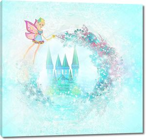 Голубой замок в цветах