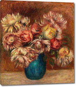 Ренуар. Цветы в зеленой вазе