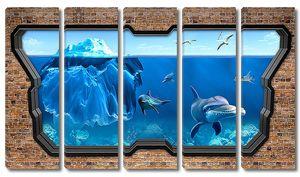 Айсберг и дельфины сквозь стекло