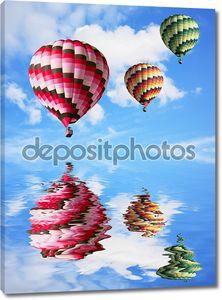 Разноцветных воздушных шаров отражение