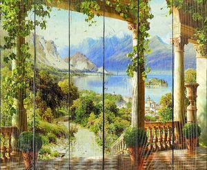 Вид на живописный парк и горы