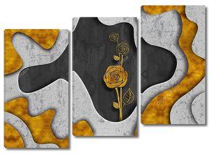 Абстрактный фон, золотая роза в центре