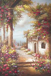 Прекрасный цветочный сад рядом с домом