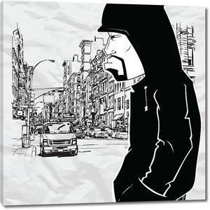 Серьезный мужчина на улицах города