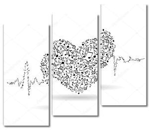 Красивая Валентина карты с музыкальным сердцем.