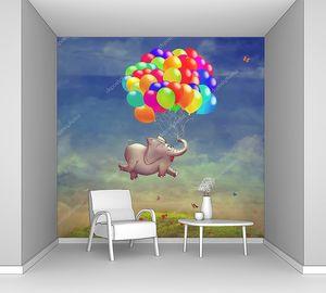 Летающий слон на воздушных шарах