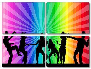 Танцоры на разноцветном фоне