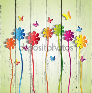 Абстрактные Цветы бумаги - бумага бабочка - Весна темы карта - vector