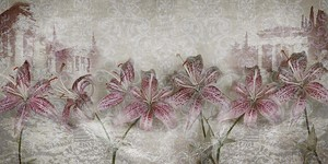 Серая абстракция с цветами
