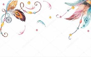 Абстрактная иллюстрация, белый фон, красочные шары, старинные украшения из перьев и красивых кристаллов
