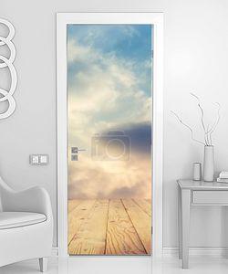 закат небо и деревянный пол, отфильтрованных фоновое изображение