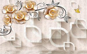 Фигуры с розами на фоне иероглифов