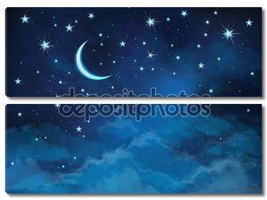 Векторный фон неба ночью звёзды и Луна.
