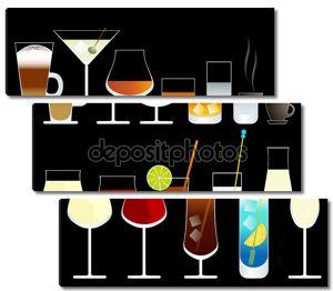 Вектор вино и коктейль очки