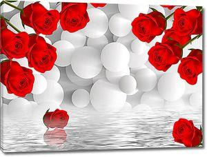 Красные розы и шары