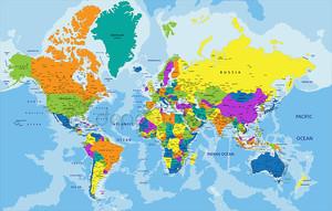 Красочные политическая карта мира