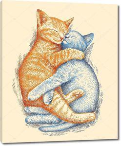 Обнявшиеся котята