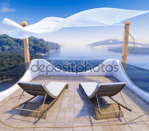 Балкон с видом на море и два кресла отдыха концепции фон