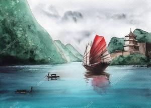 Акварельная картина китайского парусного судна на аквамарине среди зеленых гор