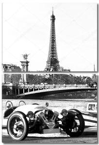 Эйфелева башня со старым автомобилем