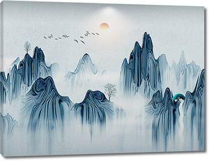 Горы изображенные подтеками краски