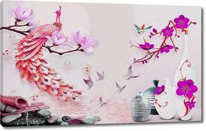 Светлые вазы, розовый павлин на ветке