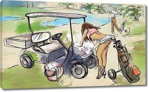 Игрок в гольф - Ручная рисованная и раскрашенная иллюстрация