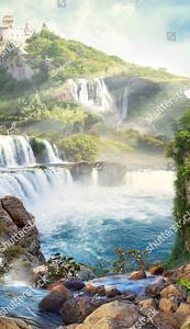 Вид на озеро с водопадами