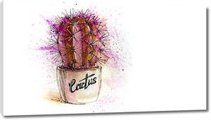 Акварельный кактус в горшке
