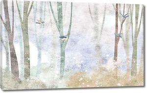 Размытый рисунок деревьев