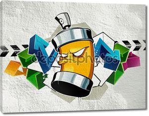 Граффити с баллончиком на стене