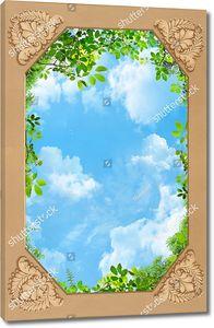 Небо с узором и ветками по краям
