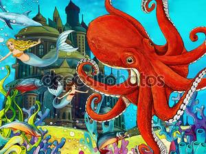 Осьминог в море
