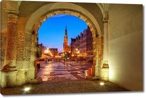 Гданьск ночью в Польше