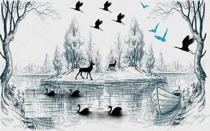 Лебеди, олени на озере