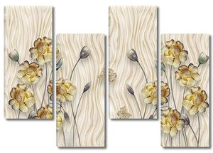Волны, бежевый фон, цветы