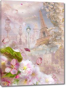 Нежные цветы на фоне Эйфелевой башни