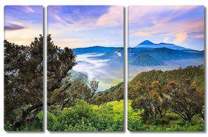 Вулкан Bromo sunrise, Тенгер Семеру Национальный парк, Восточная Ява, Индонезия