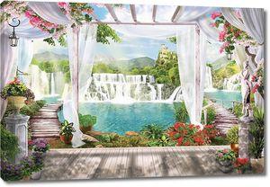 Терраса с видом на водопад
