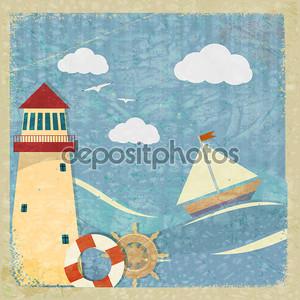 винтажные открытки с яхты, Маяк и колесо. Eps10