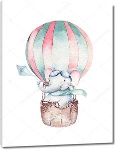 Слоненок путешествует на шаре