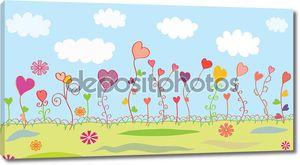 Летний цветочный фон с сердечками