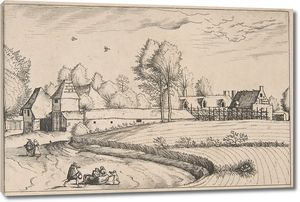 Брейгель. Гравюра. Вид села с засеянным полем (офорт)